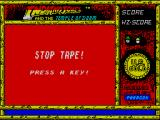 Indiana Jones and the Temple of Doom ZX Spectrum Must stop the tape at the right time. This screen flashes between red grey grey/red