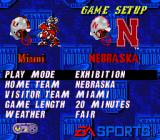 College Football USA 97 SNES Game Setup screen