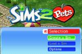 The Sims 2: Pets Game Boy Advance Main Menu