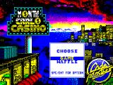 Monte Carlo Casino ZX Spectrum The game loads to this screen