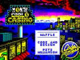 Monte Carlo Casino ZX Spectrum Selecting 'WAFFLE' brings up the credits and a list of games by the same author