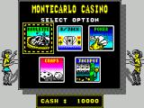 Monte Carlo Casino ZX Spectrum Start screen with $10,000 stake money. The player returns to this screen on exitting any of the five games