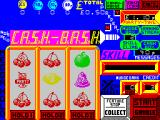 Fruit Machine Simulator ZX Spectrum letters 1-8 of the CASH-BASH feature are lit and because there's a '?' symbol on the winning line the 9th light is flashing. this is a 50-50 chance to get the feature