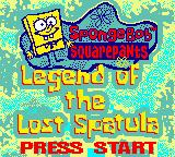SpongeBob Squarepants: Legend of the Lost Spatula Game Boy Color Title Screen