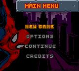 Spider-Man 2: The Sinister Six Game Boy Color Main Menu