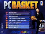 "PC Basket 4.0 DOS Main menu. The man in the right is Juan Antonio San Epifanio aka ""Epi"", one of the most popular Spanish basketball players of the 80s."
