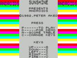 Androids ZX Spectrum The main menu screen. The bright coloured stripes do not flash but the word ANDROIDS scrolls down the screen on either side of the menu