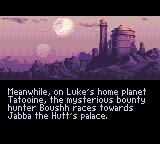 Super Star Wars: Return of the Jedi Game Gear Intro: On Tatooine, Luke, Leia and Chewie are about to free Han from Jabba.