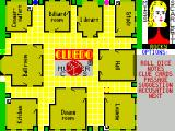 Cluedo ZX Spectrum Miss Scarlet rolls first and moves to the bracketted square by the lounge automatically