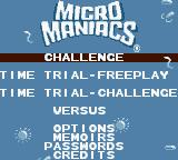 Micro Maniacs Game Boy Color Main Menu
