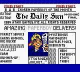 Paperboy Game Boy Color Title Screen