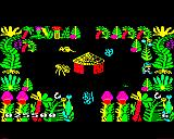 Sabre Wulf BBC Micro A tribesman's hut in a small clearing. Also a fire is forming.