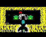 Sabre Wulf BBC Micro The final exit guarded by the gatekeeper. He will only leave if you have all four pieces of the amulet.
