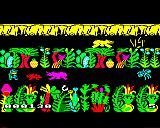 Sabre Wulf BBC Micro Facing a Rhinoceros and a lizard while a Hippo runs the other way up top