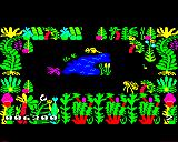 Sabre Wulf BBC Micro A clearing in the forest with a small lake.