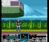Mazinger Z SNES Brocken buzzes the ground in his flying fortress just to freak Mazinger out.