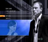 007: Quantum of Solace PlayStation 2 Menu screen.