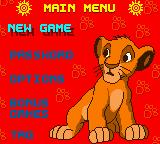 Disney's The Lion King: Simba's Mighty Adventure Game Boy Color Main Menu