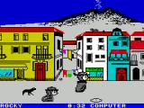 Sports-A-Roni ZX Spectrum Sack race :  The race is finally underway. Mashing the keyboard to build up speed. The little dog ios a 'humerous' touch, it pulls you forward / back / gets in the way etc