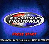 Mat Hoffman's Pro BMX Game Boy Color Title Screen