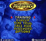 Mat Hoffman's Pro BMX Game Boy Color Main Menu