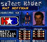 Mat Hoffman's Pro BMX Game Boy Color Select Rider screen