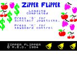 Zipper Flipper ZX Spectrum The game loads to this screen