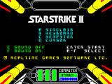 Starstrike II ZX Spectrum The start of game menu is based on the ship's cabin layout