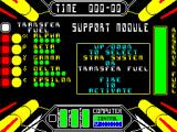 Starstrike II ZX Spectrum Start of game. There's a list of actions on the left . select by scrolling up & down with the Q/A keys then FIRE when positioned correctly