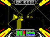 Starstrike II ZX Spectrum Game Over !. I must have hit every dancing square at once and wiped out my force field's power