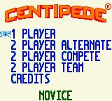 Centipede Game Boy Color Main Menu