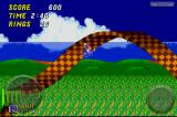 Sonic the Hedgehog 2 iPhone Racing across a checkerboard corkscrew.