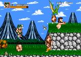 Joe & Mac: Caveman Ninja Genesis Jumping and throwing a weapon at the same time