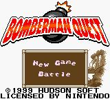 Bomberman Quest Game Boy Color Main Menu