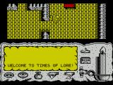 Times of Lore ZX Spectrum This is the start of the game. I'm on the roof of some building and need to go down the stairs to the left to make contact with other characters