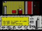 Times of Lore ZX Spectrum Wherever I walk my character stays roughly in the centre of the screen and the world moves underneath him. Here I've left the character movement and have activated the 'command mode'