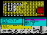 Times of Lore ZX Spectrum Conversation is activated by selecting the mouth icon in command mode.