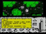Times of Lore ZX Spectrum Exploring the countryside. The other character on screen is a bad guy. I cannot move because I am blocked in
