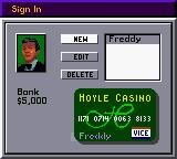 Hoyle Casino Game Boy Color Sign in Screen