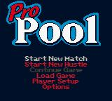 Pro Pool Game Boy Color Main Menu