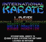 International Karate 2000 Game Boy Color Main Menu