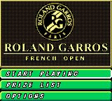 Roland Garros French Open 2000 Game Boy Color Main Menu