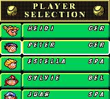 Roland Garros French Open 2000 Game Boy Color Player Selection screen