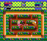 Miracle Girls: Tomomi to Mikage no Miracle World Adventure SNES Whoever has the most points at the end of the round wins. water can be blocked with your umbrella right before it hits, and late in the round roaming bubble will appear that eat points.