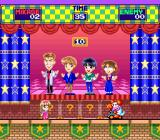 Miracle Girls: Tomomi to Mikage no Miracle World Adventure SNES Stage 3's boss requires you to figure out which figure is out of sync with the rest. Find them faster to win more points.