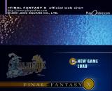 Final Fantasy X International PlayStation 2 Menu screen.