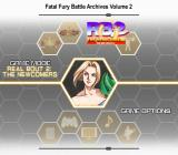 Fatal Fury: Battle Archives Volume 2 PlayStation 2 Menu screen.