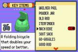 Pokémon Emerald Version Game Boy Advance Bag, showing key items you can use