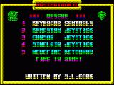 Rescue ZX Spectrum Title page. The Mastertronic logo is colour-cycling
