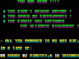 Rescue ZX Spectrum Report screen after 'Game Over', showing achievements ( or lack thereof )
